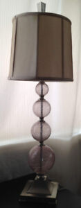 Stacked Crackled Glass Spheres Tall Lamps - Set of 2