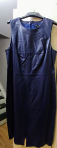 BANANA REPUBLIC BLUE LEATHER DRESS NEW WITH TAGS SIZE 14 $40