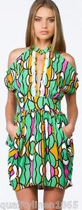 House of Wilde Women's Ladies Dress Bold Print Cut Out Shoulder Beads Size S