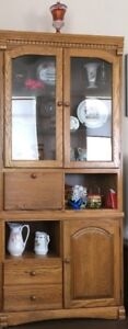 Cabinet with Glass doors and shelves - LIKE NEW, PRICE CUT