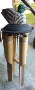 Vintage Outdoor 'Painted Wooden Duck' Bamboo Wind Chime