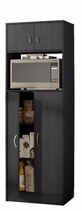 Microwave Stand/4-Door Pantry Black/Cherry, New