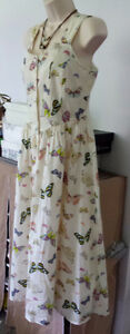 CHADWICKS Romantic IVORY Vintage look BUTTERFLY SUNDRESS Sz 8P