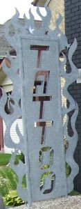Large Lazer Cut Galvanized Tattoo Sign For Sale