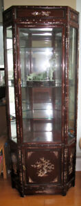 Rosewood w/ Mother of Pearl Inlay Corner Curio/Cabinet