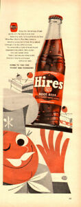 1954 half-page magazine ad (5 x 14) for Hires Root Beer