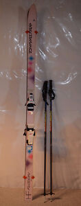 Women's downhill skis with bindings and poles