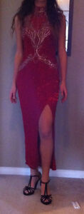 Red silk beaded prom/pageant dress