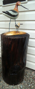 Outdoor/Indoor wood carving of Bird and Baby on Pedestal-$175