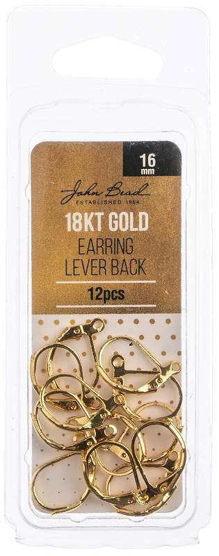 Earring Lever Back 16mm 12/Pkg 18kt Gold Plated 665772229792