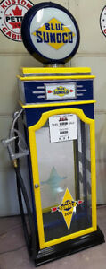 BLUE SUNOCO GAS PUMP DISPLAY CABINET, PETRO CABINET