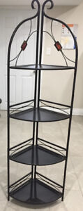 Antique Beautiful Ornate Brown 4 Tier Metal Stand