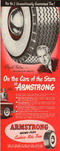 1949 Half-page magazine ad for Armstrong Tires with Lloyd Nolan