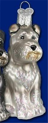 GRAY SCHNAUZER OLD WORLD CHRISTMAS GLASS DOG CANINE BREED ORNAMENT NWT 12264 ()