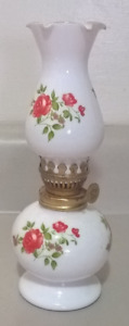 Vintage Small Milk Glass Oil Lamp With Red Flowers