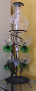 Austrian Wine Dispenser with Stand, 4 glasses and cooler tube