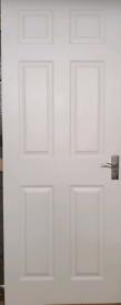 1 panel Primed White Woodgrain effect LH & RH Internal Door, (H) 1965m