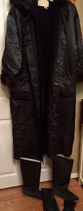 Linda Lundstrom Long Black coat with matching mitts and boots
