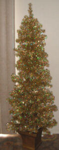 6 Foot Tall GOLD Christmas Tree LIGHTED PRE-LIT Indoor
