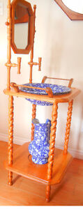Oak Wash Stand with ironstone bowl and pitcher