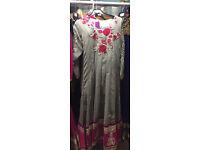 Gorgeous grey hot pink Anarkali suit