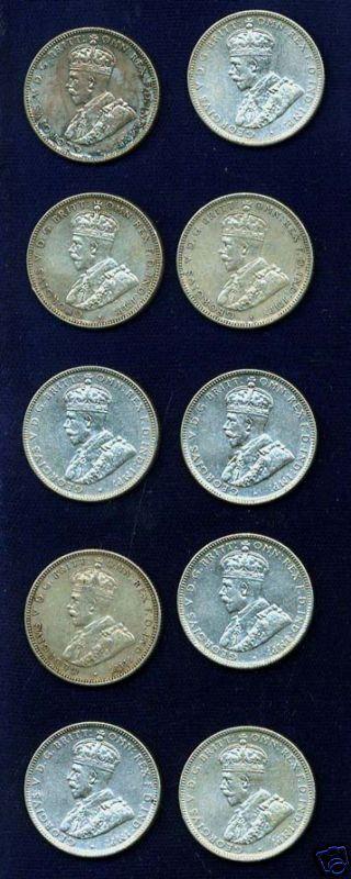 AUSTRALIA  GEORGE V  1931  1 SHILLING SILVER COINS (10), VF to VF+