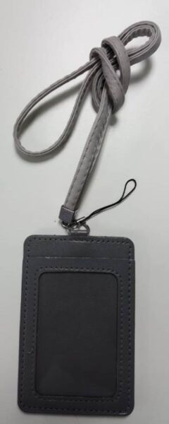 PU leather card holder with lanyard set just like prada coach gucci branded card holders in black