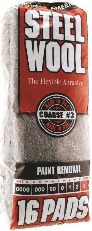 Homax 106606 Steel Wool Pad, #3 Grit, Coarse, Gray, 16 Pads per Pack