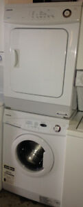 "White Upright Freezer 24"" Apartment Stackable Washer and Dryer"