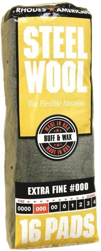 Homax 106601 Steel Wool Pad, #000 Grit, Extra Fine, Gray, 16 Pads per Pack