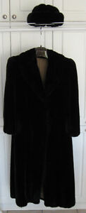 Black mink fur coat and hat - Synthetic