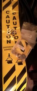 "Heavy Duty 2 Yellow ""Caution Overhead Danger"" Banner Kits"