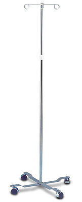 Pole 4 Leg 2 Hook - NEW Rolling 2-Hook 4-Leg Chrome Plated IV Stand Pole Wheeled I V Poles I.V. Cart