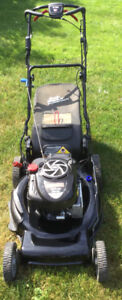 Push button electric start lawnmower