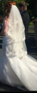 Wedding dress size 22 & veil for sale