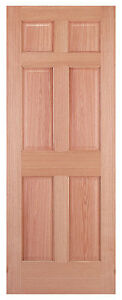 6 Panel Red Oak Traditional Raised Stain Grade Wood Solid Core Interior Doors