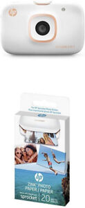 HP® Sprocket Photo Printer 2-in-1, White (2FB96A) & Photo Paper,