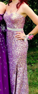Pink Fully-Sequined Prom Dress
