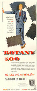 1950 half-page magazine ad (5 x 13) for Botany 500 Suits