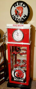 Red Indian Clock Face Gas Pump, Display cabinet, Vintage gas,