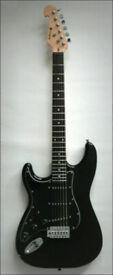 Left handed Strat style Electric Guitar Black