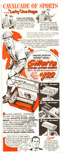 1950 half-page ad for Gillette, New York Yankee pitcher Joe Page