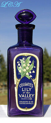 Deep PURPLE antique COLGATE perfume LILY of the VALLEY dresser bottle w/ STOPPER