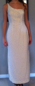 Ivory beaded crepe prom/pageant dress