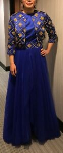 DARK ROYAL BLUE GOLD BEADED EVENING HOLIDAY PARTY PROM DRESS M