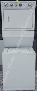 Whirlpool Large Capacity Stacked Washer Dryer, 12 month warranty