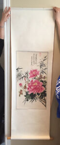 Asian water colour art on scroll - peony flowers