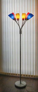 Floor lamp with multi-colored lamps