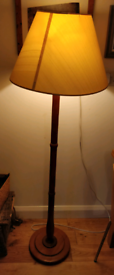 Standing wooden lamp and lampshade