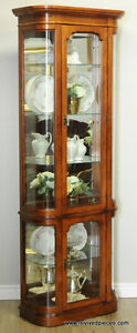 Vintage Curved Glass Display Curio Cabinet